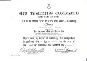 Air Traffic Control honor graduate certificate