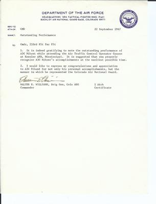 Air Traffic Control commendation letter from the General