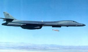 B-1B Lancer dropping a dummy nuclear bomb