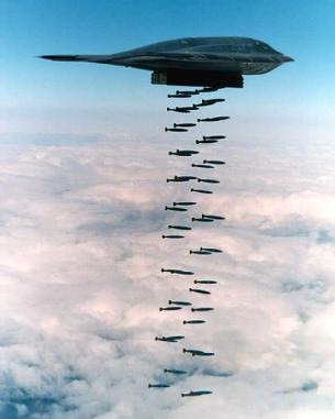 B-2 Spirit dropping a load of bombs