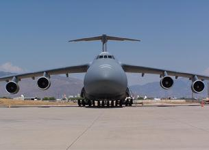 C-5 Galaxy is the largest transport aircraft in America with a maximum weight of 840,000 pounds