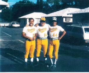 """The Three Amigos"" - Cal Nikont (28), Mike Smith (34), and Al Rosales (44) with the Glendale Mustangs at a big fastpitch softball tournament in Bishop, CA in 1978"