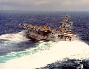 CVN-68 Nimitz turning hard. The 10 Nimitz class carriers can operate for 20 years on nuclear power without being refueled.