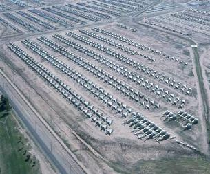 Davis Monthan AFB Boneyard in Tucson, Arizona. This is where all aircraft come to be disassembled for parts
