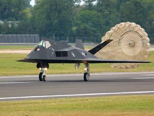 F-117 Nighthawk utilizing a drag chute to slow landing speed