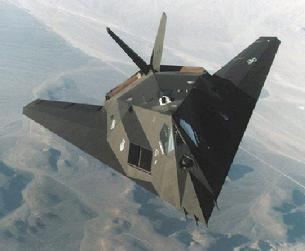 F-117 Nighthawk overhead view showing large flat exhaust area to minimize infrared signature