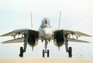 F-14 Tomcat parked with wings stowed for parking