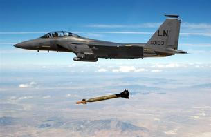 F-15 Eagle dropping a smart bomb