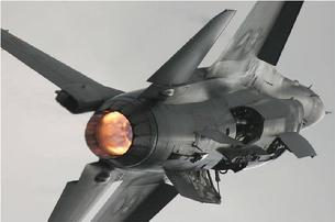 F-16 Falcon full afterburner takeoff, landing gear raised and about to close the doors