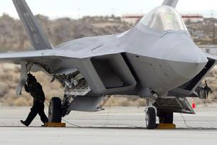 F-22 Raptor with doors open and variable engine inlets