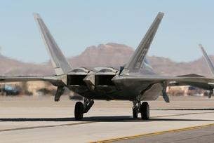F-22 Raptor tail view with thrust vectoring