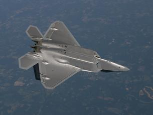 F-22 Raptor on its back