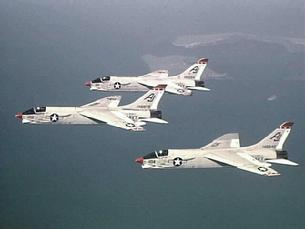 F-8 Crusader in formation