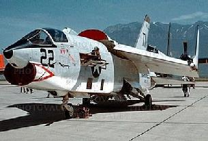 F-8 Crusader parked with wings folded