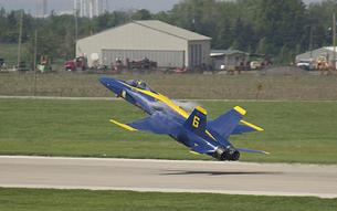 FA-18 Hornet Blue Angel in a high-G pull up
