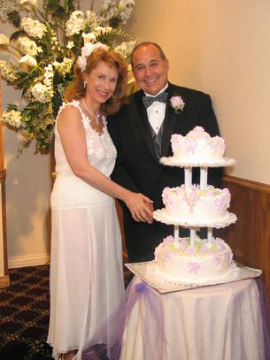 Myrna, Cal and wedding cake